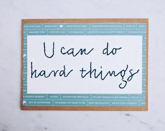 U can do hard things card