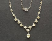 Vintage clear crystal bezel set open-backed Czech riviere Y lariat necklace in silver tone, Art Deco
