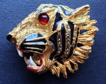 3c341171cb5 Huge vintage fierce tiger head brooch - red glass cabochon
