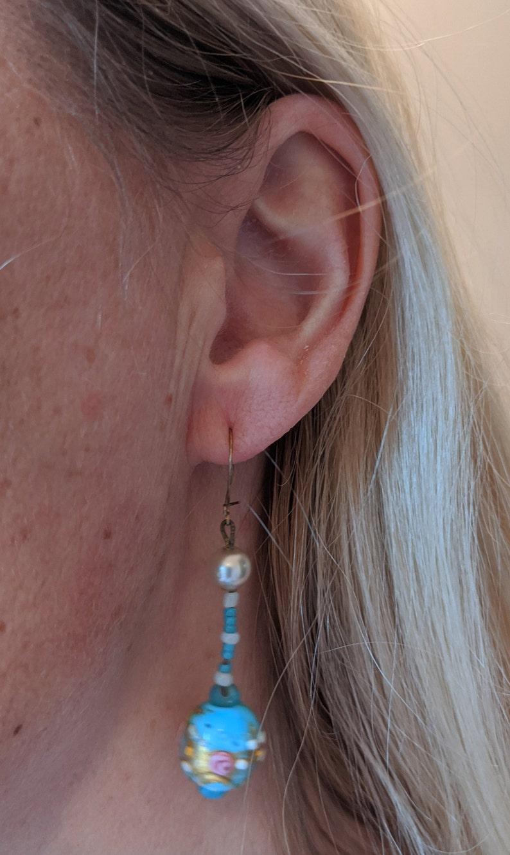 pink green white and gold choker necklace /& earrings for pierced ears set Vintage Art Deco Venetian wedding cake glass light blue