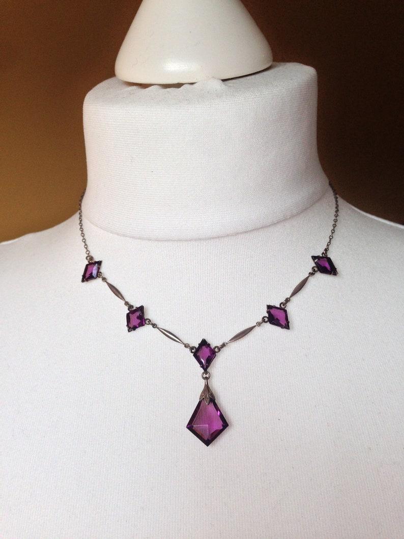 bezel set open backed rhombus  diamond shaped crystals set in silver tone Vintage Art Deco purple amethyst crystal necklace