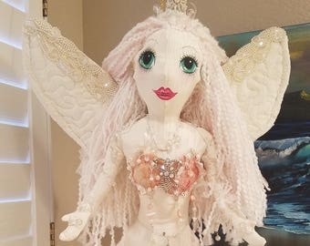 Mermaid Fairy, Handmade, Soft Sculpture, Vintage and New, Fabrics, Shells, Pearls, Wire Wrapping