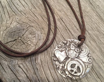 Peace, Love and Wisdom handmade silver pendant