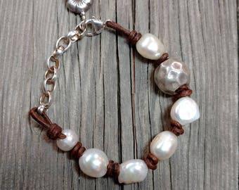 Handcrafted Pearl Sterling Silver Greek Leather Bracelet