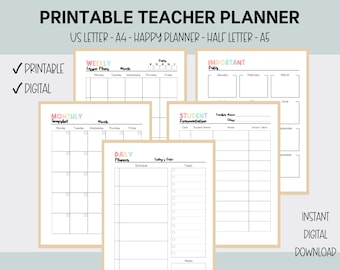 High School Teacher Planner, Teacher Planner Printable, Happy Planner, Letter, Half Letter, A5, A4, Daily, Monthly