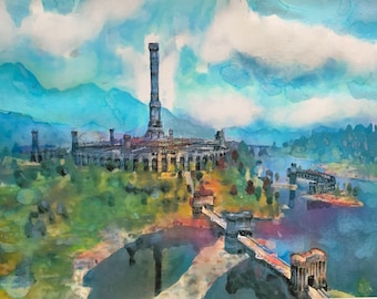 LIMITED PRINT Elder Scrolls the Imperial City Fantasy Landscape Painting