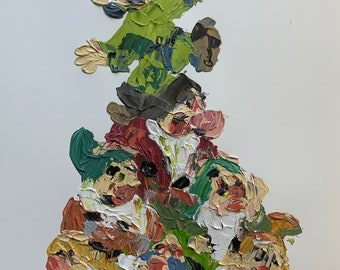 """ORIGINAL - Abstract Disney Seven Dwarves Snow White Palette Knife Painting // Acrylic on Paper //  Contemporary Pop Art 12x16"""""""