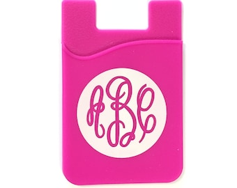 YAKET Card Grip, Adhesive Backed Silicone Cell Phone Wallet (Personalized, Monogram)