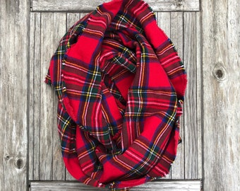 Autumn/Winter Flannel Infinity Scarf - Red Tartan Plaid