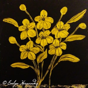 6 x 6 Textured Art Deco Flowers