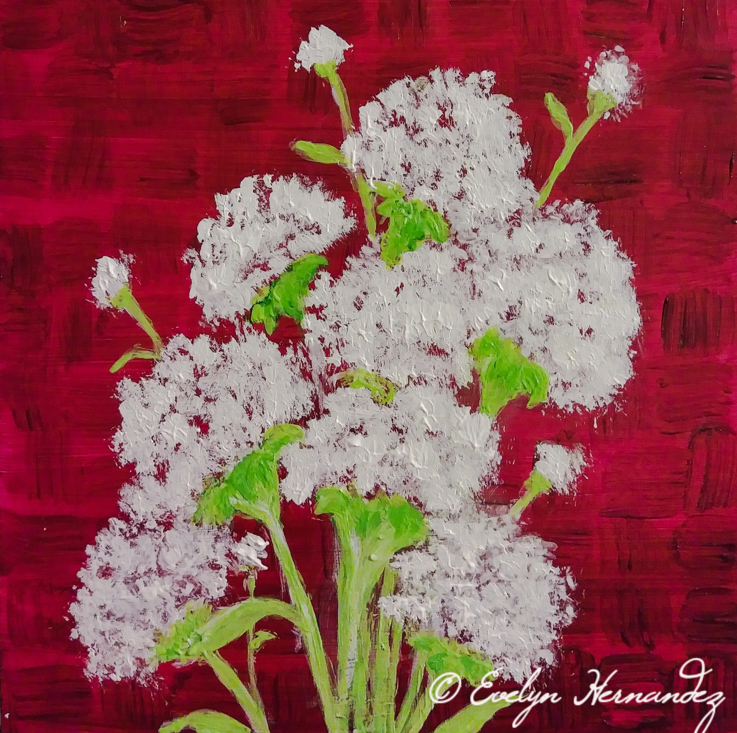 Flower Painting White Over Red 6 X 6