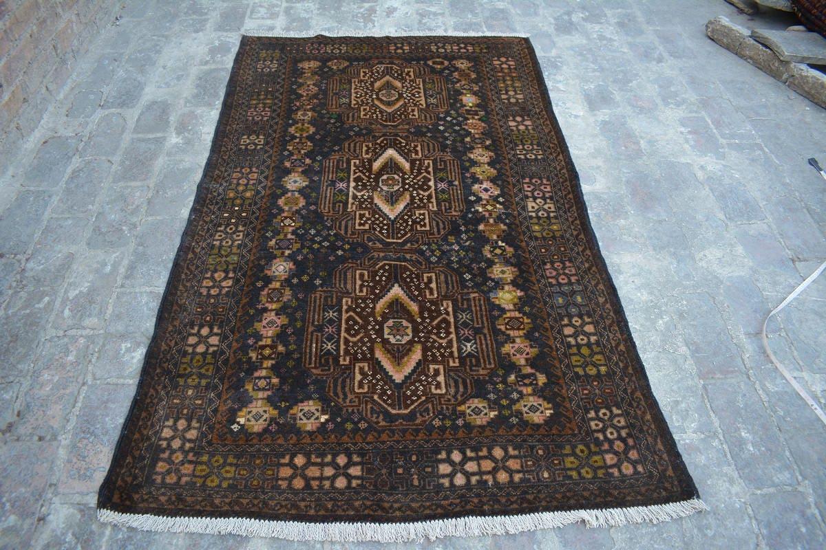 5x3 ft Handmade Afghan baluch war art rug wool rug vegetable dyed oriental rug  Nomadic rug