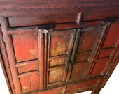Antique Red Armoire 18th Century Handcrafted Bureau Antique Chinese Two Door Cabinet