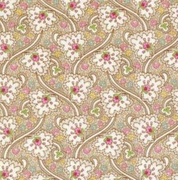 Brown Per 1//2 Yard Maywood Studios GRACEFUL MOMENTS 100/% Prem Cotton Fabric