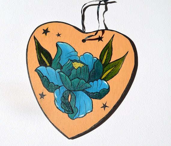 18th Birthday Hand Painted Original Artwork Floral Wooden Heart Choice of Colours
