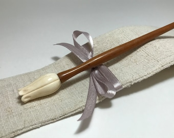 """Hand Carved Wooden Hair Stick """"Bud"""""""