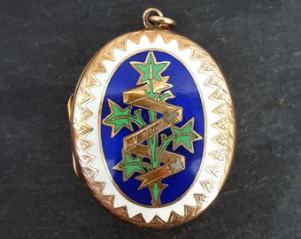 Victorian 9ct Yellow Gold Enamel Engraved Mourning Locket