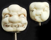 Antique Japanese Double-Sided Theatre Mask Gold Stick Pin