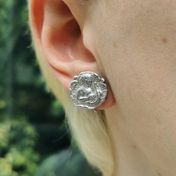 Edwardian Sterling Silver Button Screw-Back Earrin