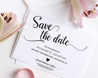 Wedding Save the Date Template - Save the Date Printable - Wedding Printable - Calligraphy save the date - Downloadable wedding #WDH101_16