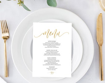 Gold Wedding Menu Printable, Template, Editable, Instant Download, 5x7'' and 3.75x9''  #0035