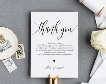 Thank You Letter Template, Welcome Note, Wedding In Lieu of Favor Card, Editable Text, Instant Download, Sizes: 4x6'' and 5x3.5'' #0033_1