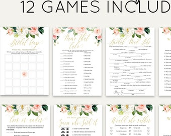 Floral Bridal Shower Games Bundle, Personalize Name and Questions, Pink and Gold, Editable Games with Corjl