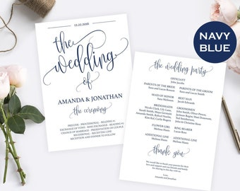 Wedding Program Template, Navy Blue, Instant Download, Fully Editable text, Downloadable wedding, Edit prior purchase. #WDH070