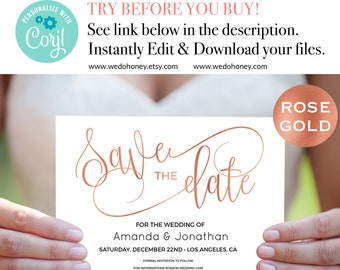 Rose Gold Save The Date Template, Faux Foil, Rose Gold Modern Wedding, Edit now prior purchase on Corjl, Downloadable wedding #WDH302_5