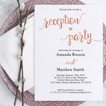 Wedding Reception Invitation - Reception Party Invitation - Wedding Printable - Rose Gold Wedding - Downloadable wedding #WDH320_3