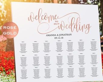 rose gold wedding seating chart template welcome wedding seating chart sign printable simple wedding downloadable wedding wdh302_16