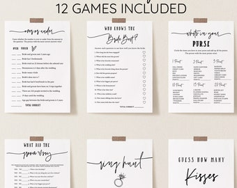 Modern Bridal Shower Games Bundle, Personalize Name and Questions, Script Game Printable, Editable Games with Corjl #073