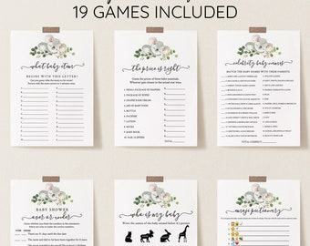 Koala Baby Shower Games Package, Koala Animal Set, Editable Baby Games with Corjl #0055