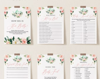 Tea Party Baby Shower Games Printable, Personalize Questions, Editable Baby Games with Corjl