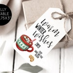 Warm Wishes Tags, Editable Christmas Tag Template, Hot Chocolate Tea, Personalized, DIY Instant Download