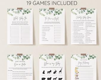Greenery Baby Shower Games Bundle, Eucalyptus, Editable Baby Games with Corjl #321
