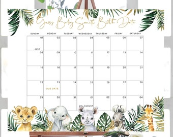 Safari Animal Baby Due Date Calendar, Jungle Animal, Guess Baby's Birthday, Editable Text with Corjl #023