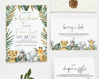 Safari Baby Shower Package, Jungle Set Gender Neutral, Digital Printable, Instant Download, Try Before You Buy with Corjl  #023