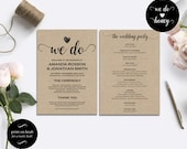 Wedding program template rustic | DIY Printable Program Wedding Template | Rustic Wedding Template | Wedding fan program PDF #WDH101_18