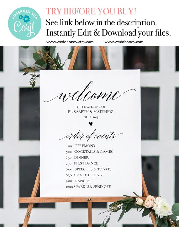 Printable Wedding Day Schedule Order of Events Sign DAZA Editable Wedding Sign Wedding Timeline Poster Wedding Timeline Sign Template