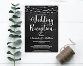 Wedding Reception Invitation - Wedding Invitation Template - Chalkboard String Lights Wedding Invitation - Downloadable Wedding #WDH0181