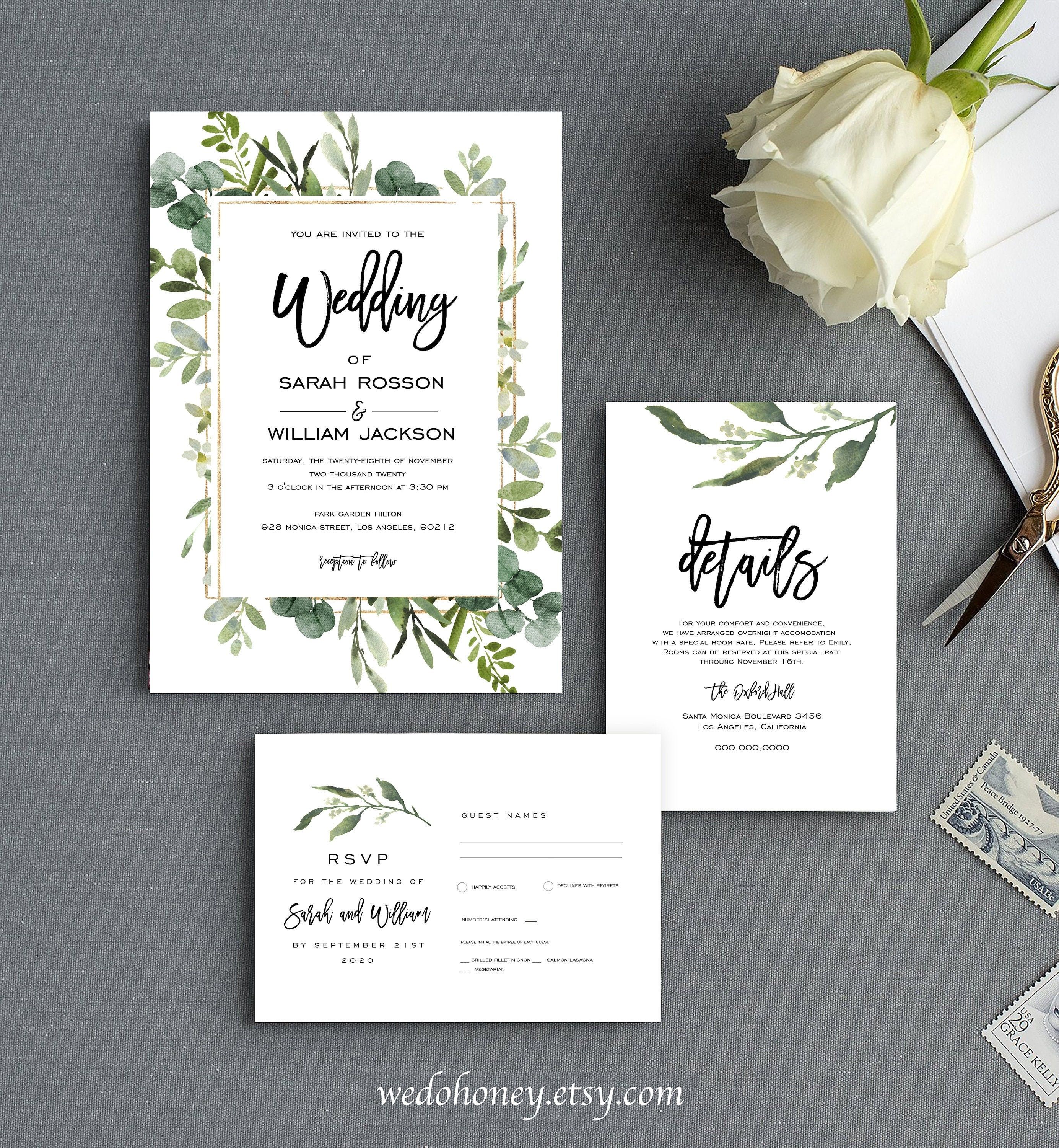 Greenery Wedding Suite Invitation Template, Foliage Set Printable, Instant Download Editable Text with Corjl #121