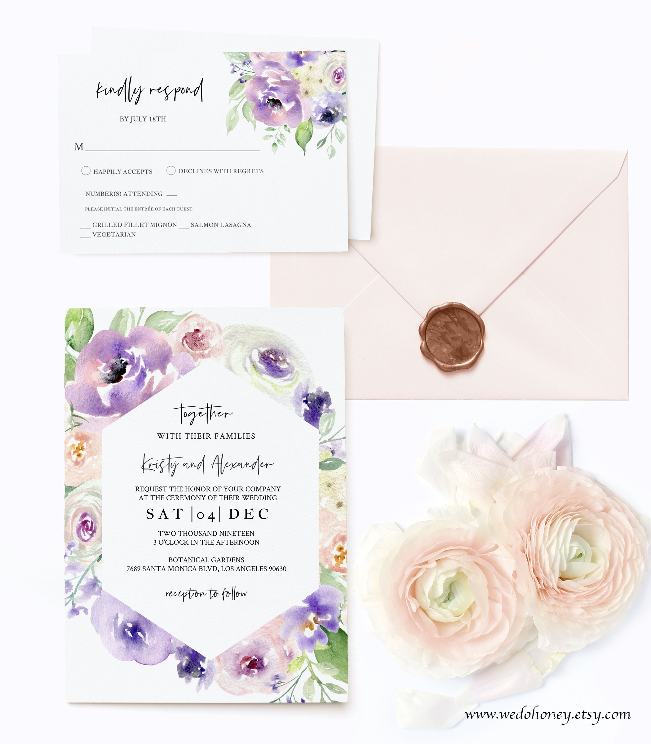 Blush Floral Wedding Suite Invitation, Lavender Invitations, Watercolor Flowers, Instant Download, Editable Text with Corjl #085