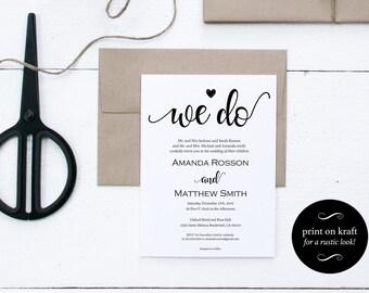 Printable Wedding Invitation Template - Kraft Wedding Invitation -  Wedding Template - Editable Text - Downloadable Wedding #WDH101_27