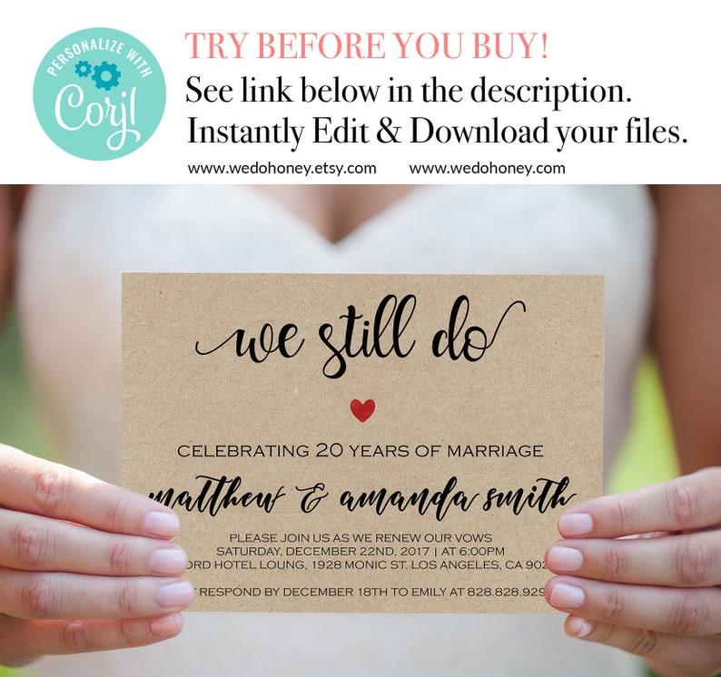 We Still Do Invitations Vow Renewal Invitation Template image 0