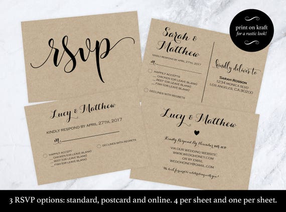 Wedding Rsvp Postcard Rsvp Cards Rsvp Online Print On Kraft