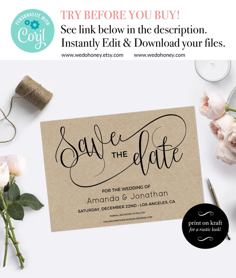 Save the Date Template  Rustic and modern Save the date image 0