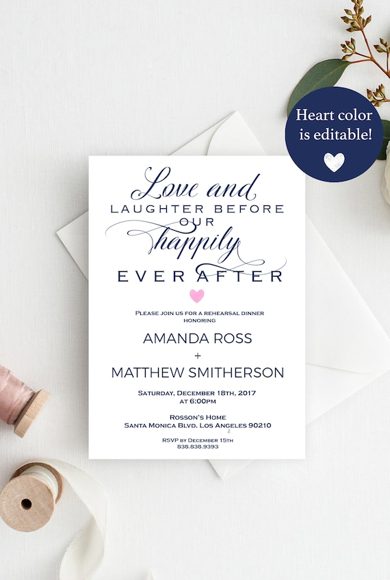 rehearsal dinner invitation template navy wedding simple and