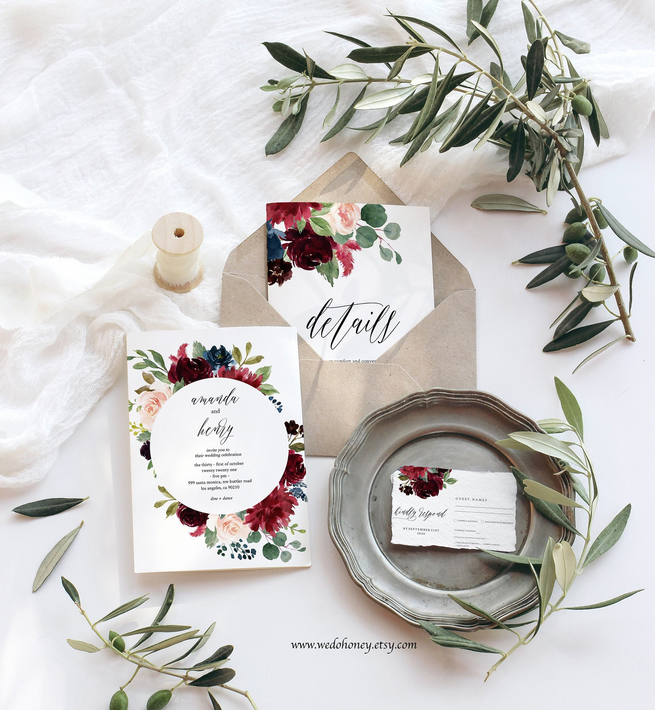 Burgundy Wedding Suite Invitation Template, Boho Florals Merlot, Editable Text #091_1