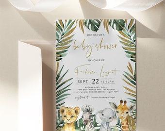 Safari Baby Shower Invitation, Jungle Tropical, Gender Neutral, Edit Text with Corjl #023